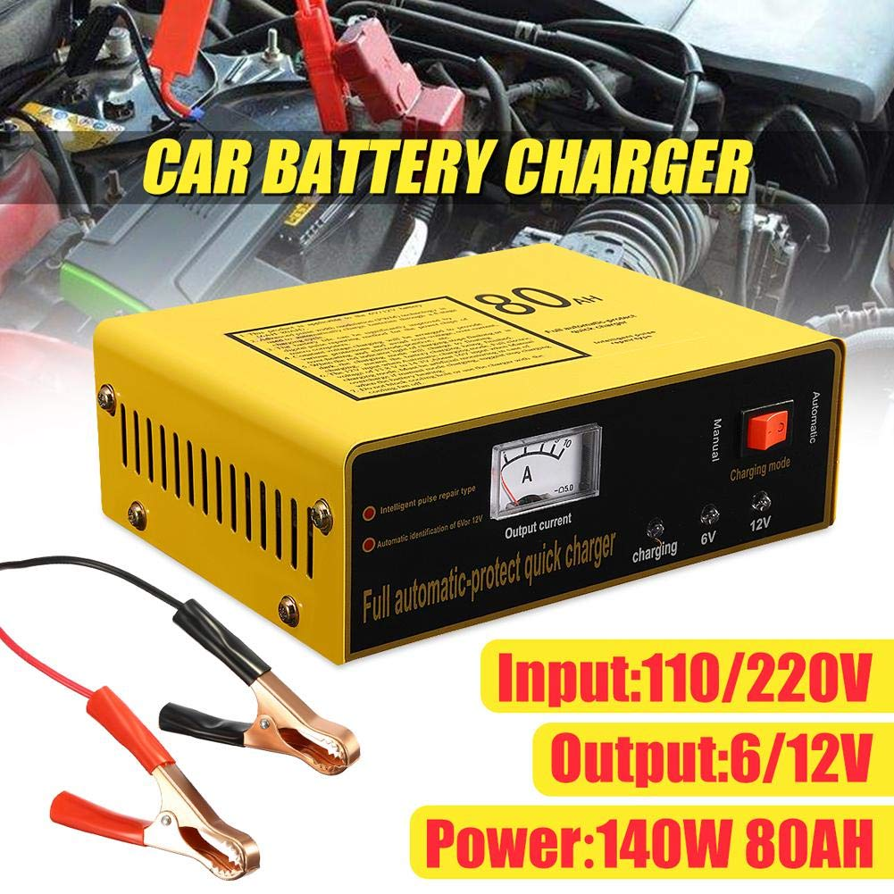 Rstant 6V//12V Car Battery Charger Universal Full Automatic-protect Quick Charger AC110-250V To DC 6//12V 80AH 140W Automatic Intelligent Car Battery Charger
