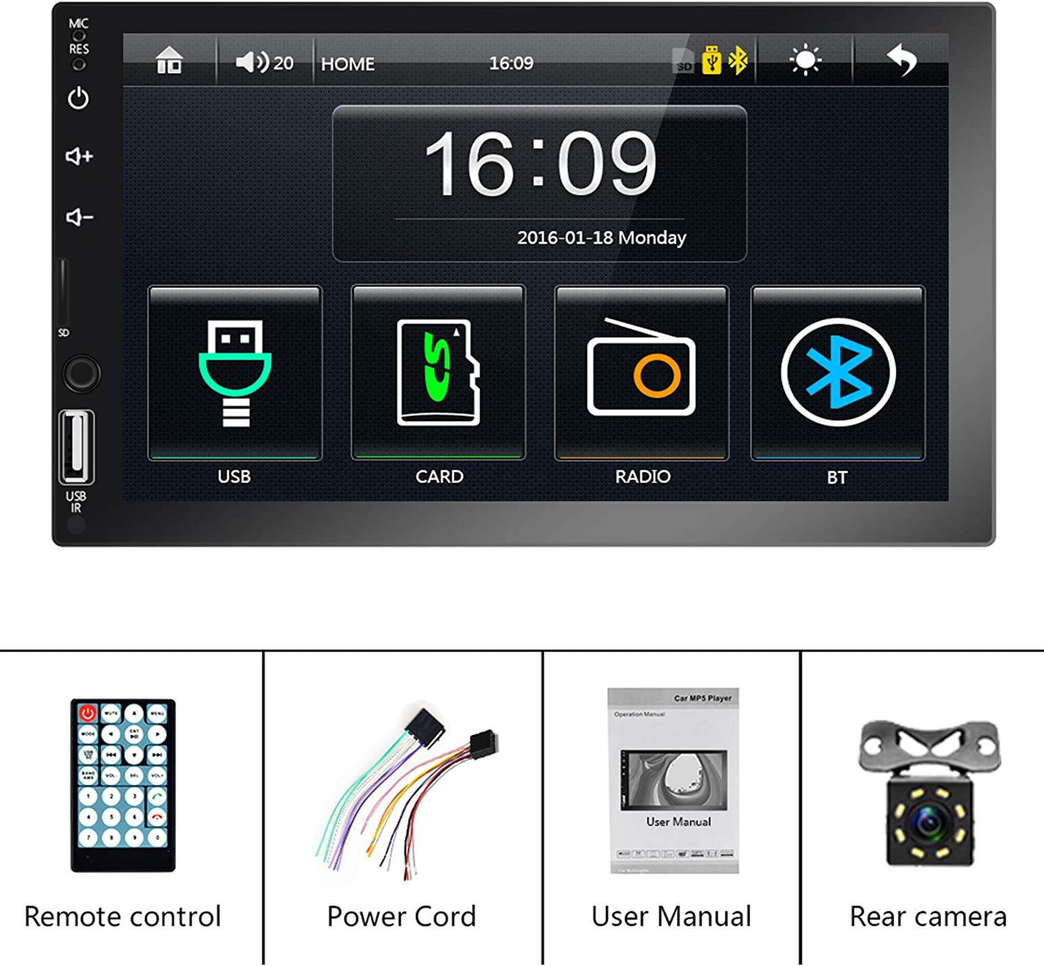 D-Play Car Multimedia Player Android /& iOS Mirror Link with USB//AUX//SD Card Input Double Din car Stereo 7 inch Touch Screen Car Radio with Bluetooth FM 8 LEDs Backup Camera /& Remote Control