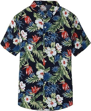 2# XXXL Plus Size Hawaiian Summer Beach Men Buttons Turn Down Short Sleeve Shirt Top