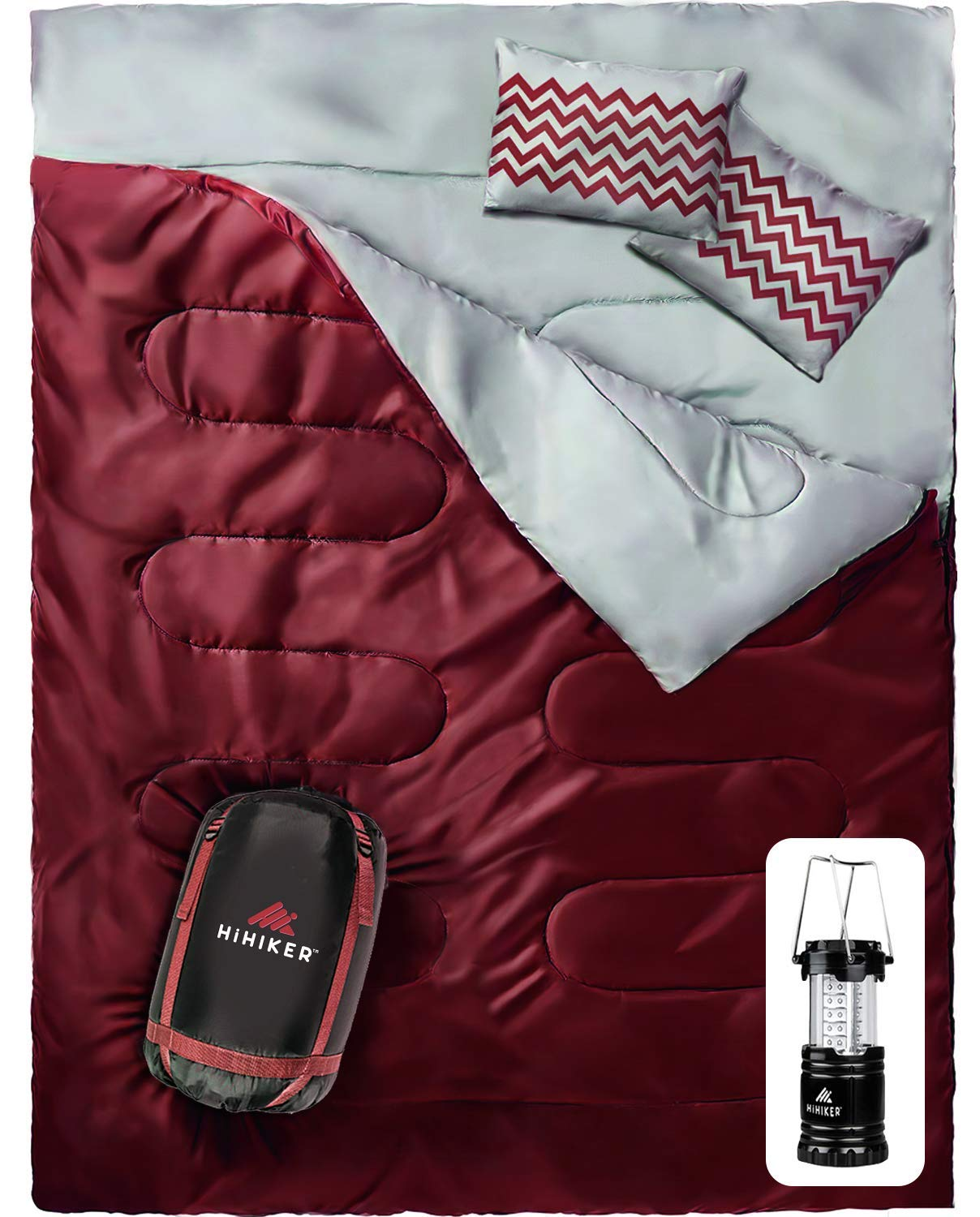 HiHiker Double Sleeping Bag Queen Size XL - Bonus Camping Light - for Camping, Hiking Backpacking and Cold Weather, Portable, Waterproof and Lightweight - 2 Person Sleeping Bag by HiHiker