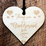 ukgiftstoreonline Thank You Bridesmaid Wooden Hanging Heart Wedding Plaque Gift