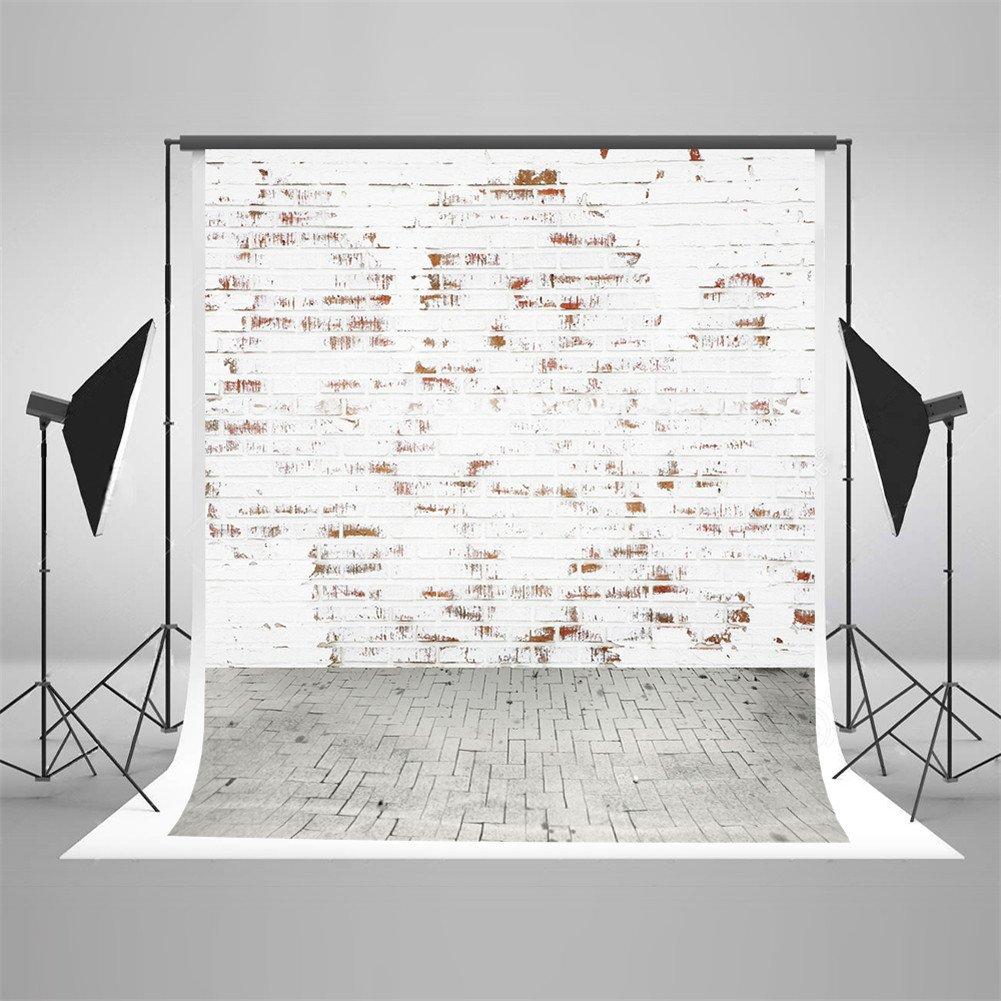 ML 10 x 10ft写真バックドロップホワイトレンガ壁グレーフローリング赤ちゃん写真の背景幕や小道具カスタマイズ写真スタジオ背景   B07DGW2QGV