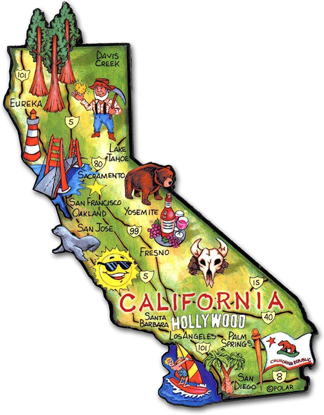 California the Golden State Artwood Jumbo Fridge Magnet