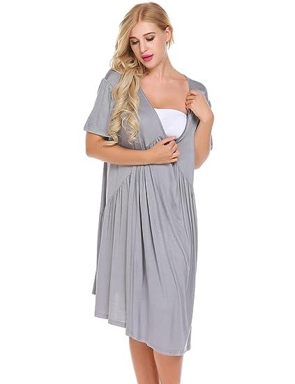 bdf983ac85566 Zouvo Womens Maternity Top Solid Sleepshirt Nursing Dress Pajamas (Light  Grey, Small) at Amazon Women's Clothing store:
