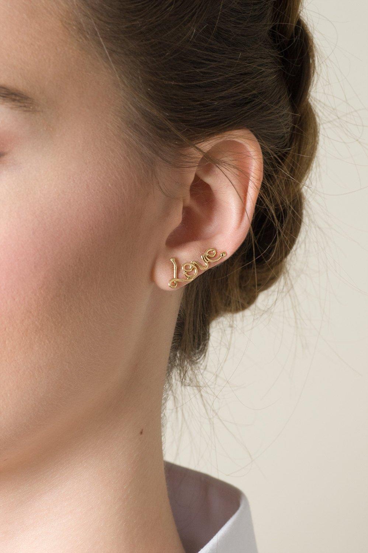 Amazon Com Earrings Set Love Ear Cuff Earring Plus A Single Heart Stud Post Earring Or Two Love Earrings Choose 14k Gold Plated Brass Or Sterling Silver Handmade