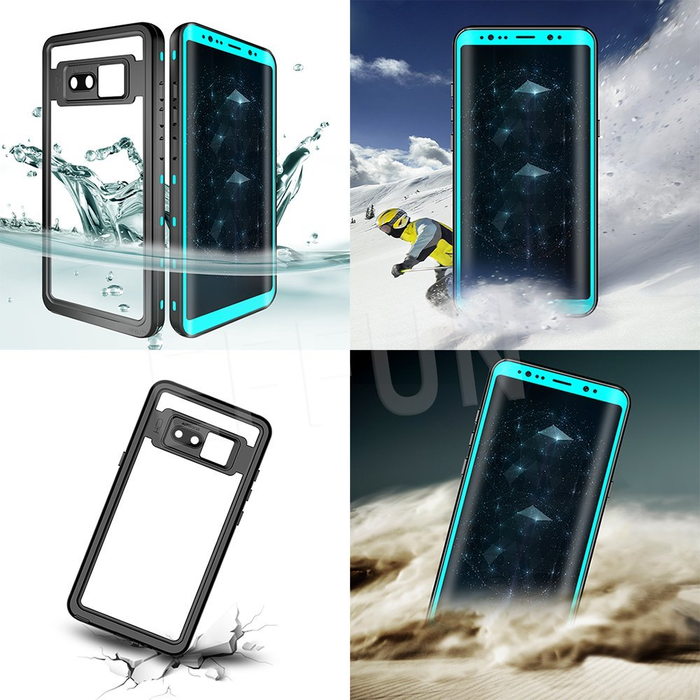 EFFUN Samsung Galaxy Note 8 Waterproof Case IP68 Certified Waterproof Underwater Cover Dust//Snow Proof Shockproof Case with Phone Stand PH Test Paper and Floating Strap Black//White//Aqua Blue//Pink