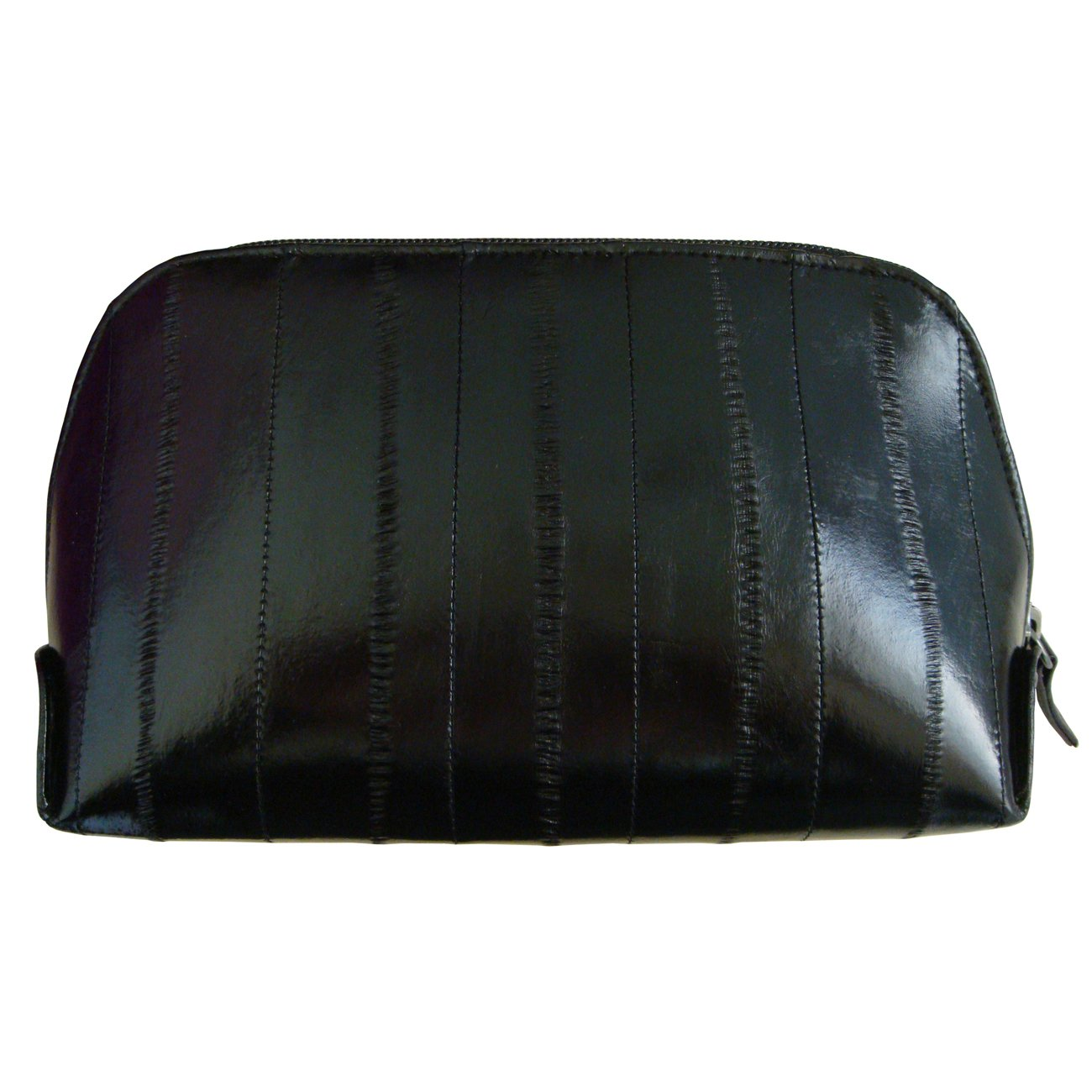 Genuine Eel Skin Leather Zip Around Cosmetic Makeup Pouch Black