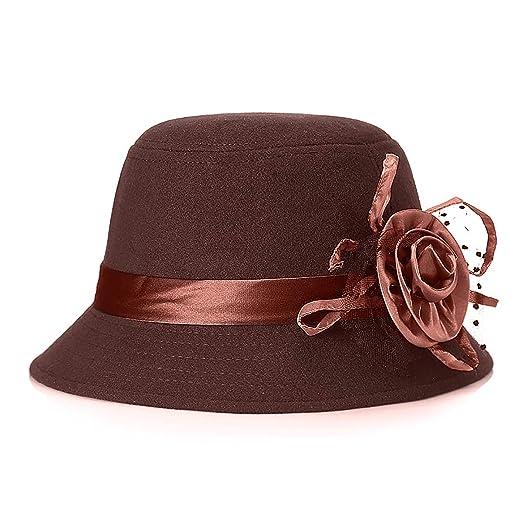 Glamorstar Vintage Felt Cloche Hat Winter Floral Fedora Bucket Hat ... 2c606b4ba6f