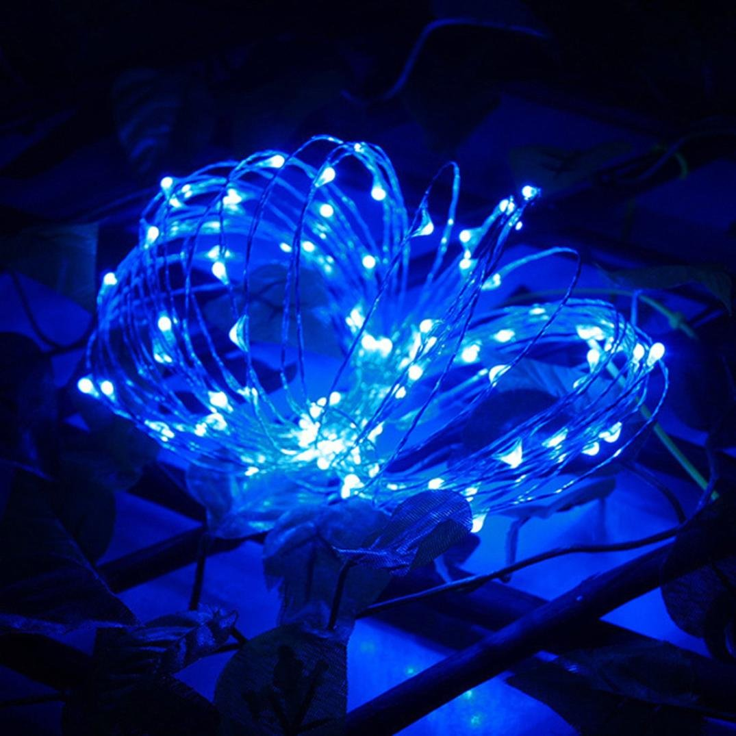 LiPing 10M 200LED Solar Energy Copper Wire Copper Wire Mini Fairy String Lights for Christmas, Weddings,Garden (Blue) by LiPing