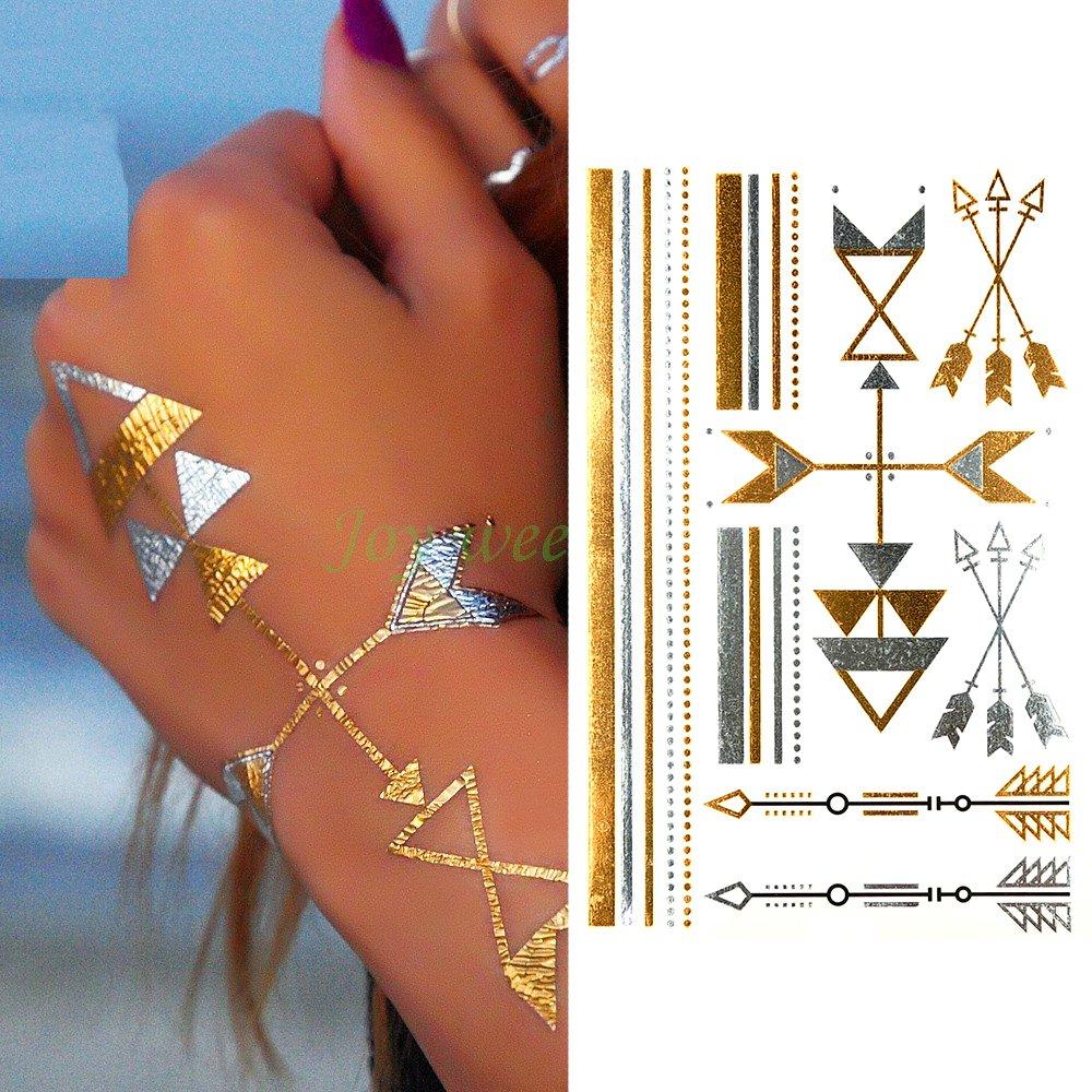 Oottati Tatuajes Temporales Metálicos Golden Pulsera De Oro De La ...