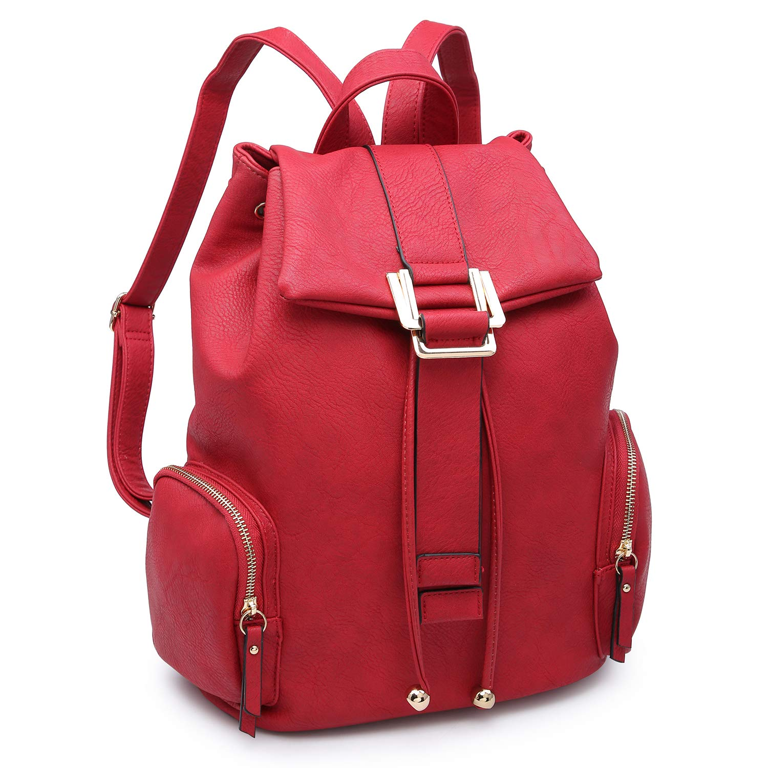 Red Women Fashion Backpack Purse PU Leather Rucksack Casual Travel School Backpack w Drawstring Snap Closure