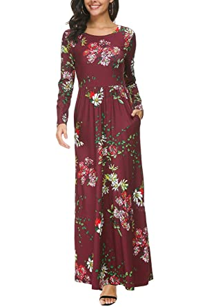 f43f1a32def Zattcas Womens Long Sleeve Maxi Dress Floral Print Casual Long Dresses with  Pockets … (Small
