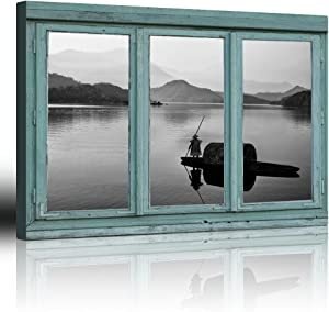 wall26 - Vintage Teal Window Looking Out Into a Black and White Boat on a Lake with a Mountain View - Canvas Art Home Decor - 24x36 inches