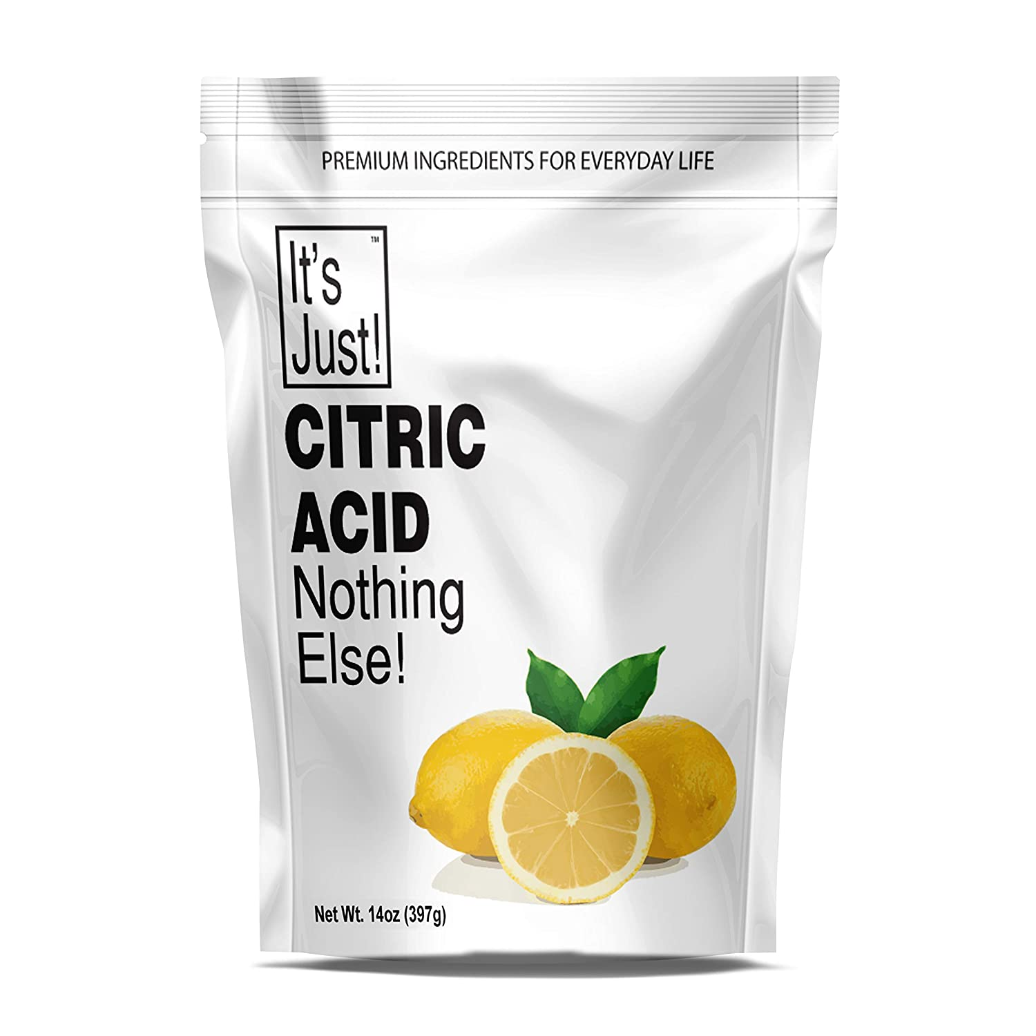 It's Just - Citric Acid (Food Grade) Non-GMO, Make Your Own, Bath Bombs, Sour Drinks, Household Cleaning, 14oz