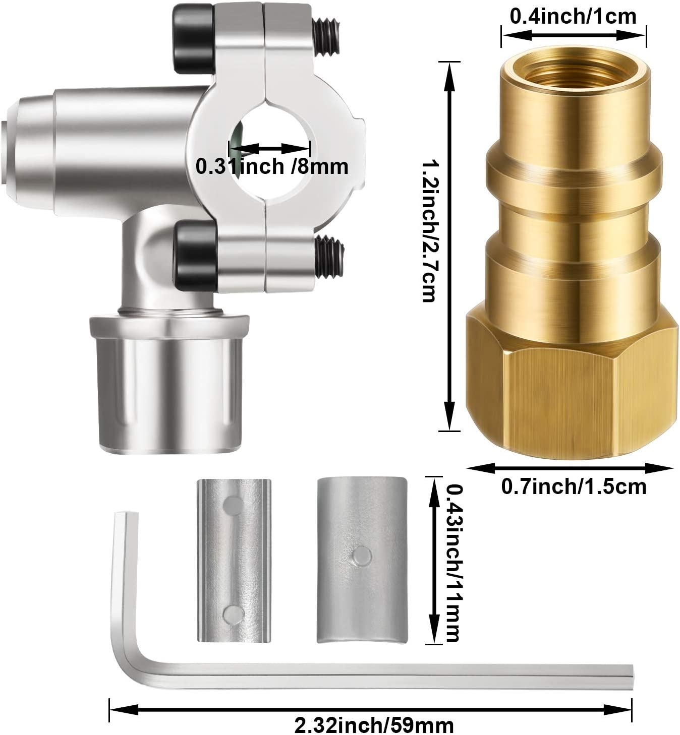 5 Pieces BPV31 Bullet Piercing Tap Valve Kits U-Charging Hose Refrigerant Can Tap with Gauge R134a Can Connect to R12// R22 Port AC 1//2 and Universal Retrofit Valve with Dust Cap