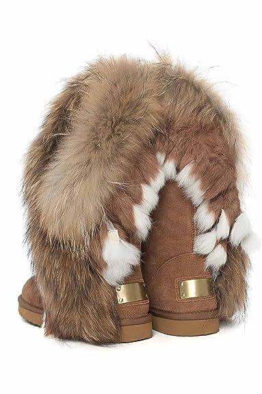 Fellstiefel Damen Boots Echtleder Hoch Winter Fell Stiefel Pelz Schuh Leder  , Farbe camel  dabfe543b0
