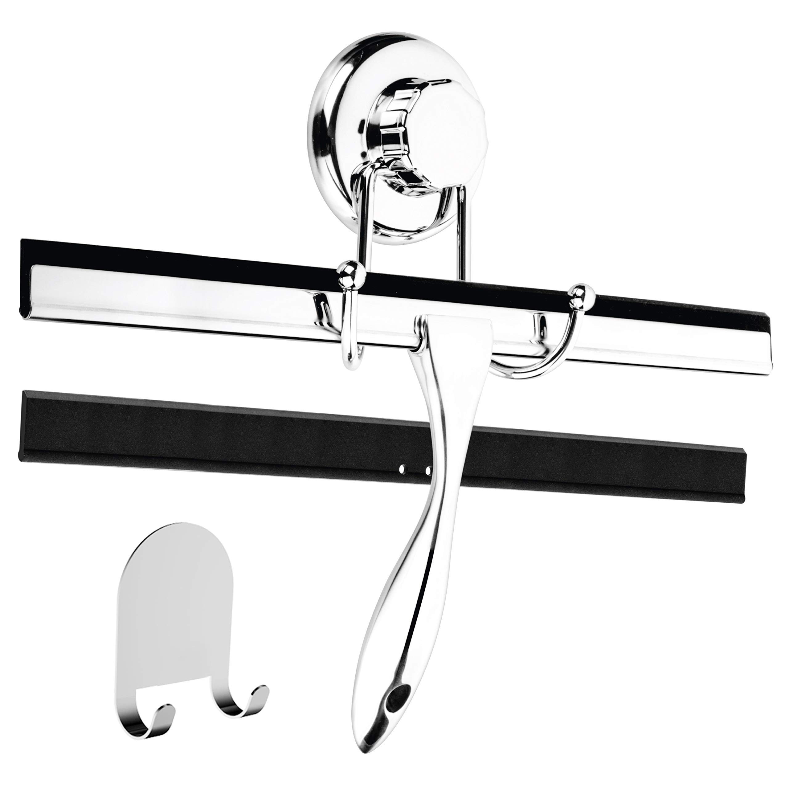 HASKO accessories 12-Inch Bathroom Shower Squeegee - Chrome Plated Stainless Steel - with Matching Suction Cup Hook Holder - 3M Adhesive Mounting Disc, 3M Hook,1 Replacement Rubber Blade by HASKO accessories