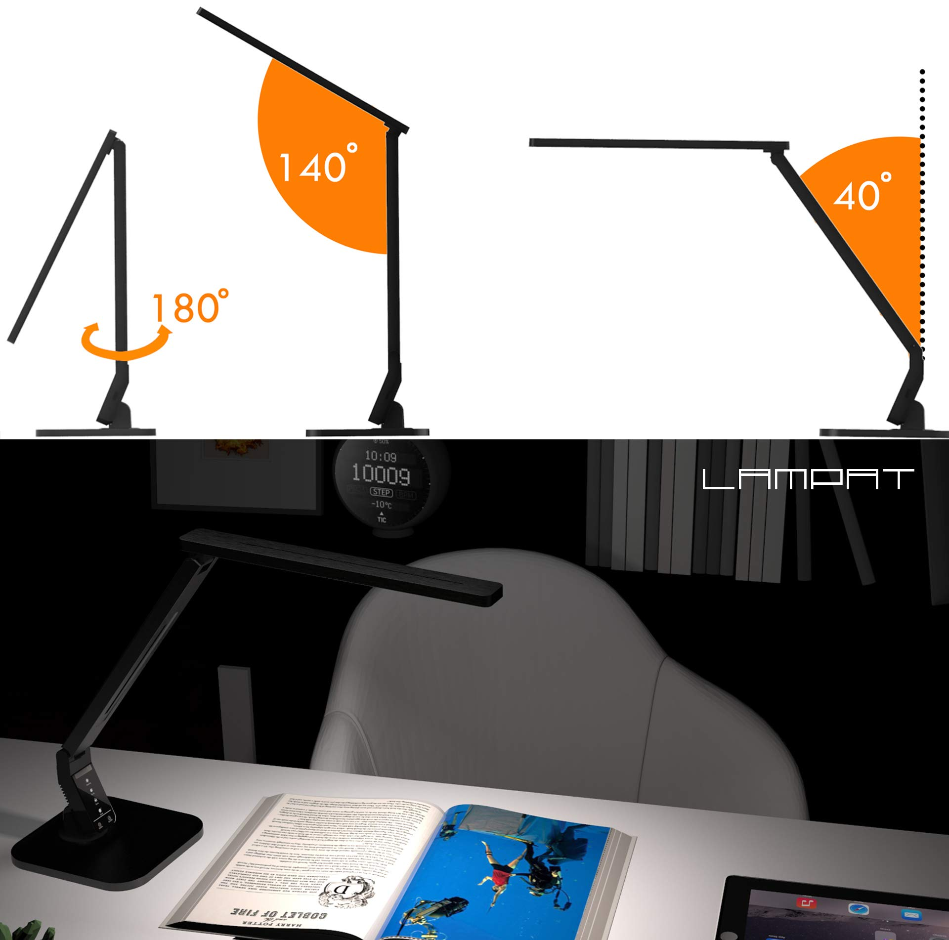 Lampat LED Desk Lamp, Dimmable LED Table Lamp Black, 4 Lighting Modes, 5-Level Dimmer, Touch-Sensitive Control Panel, 1-Hour Auto Timer, 5V/2A USB Charging Port) by LAMPAT (Image #6)