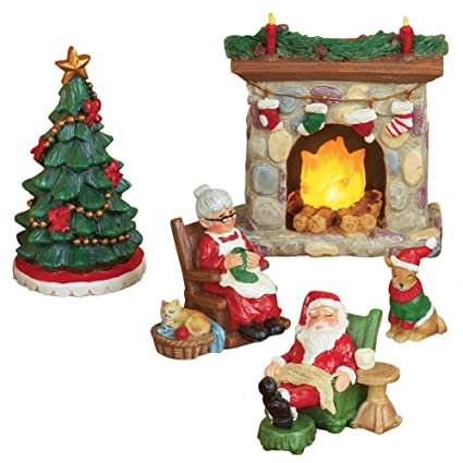 mr and mrs claus miniature christmas village figurine set - Miniature Christmas Village