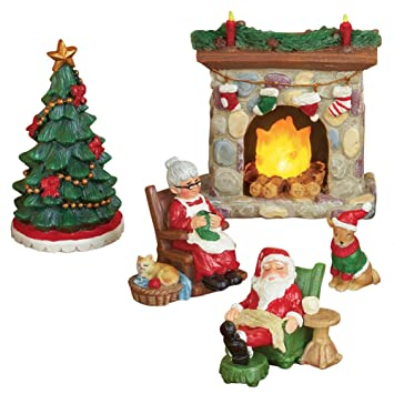 Mr And Mrs Claus Miniature Christmas Village Figurine Set