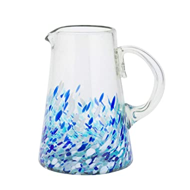 Amici Home 7MCR874R Bahia Glass Pitcher 80 Fluid Ounces Blue and White Ombre