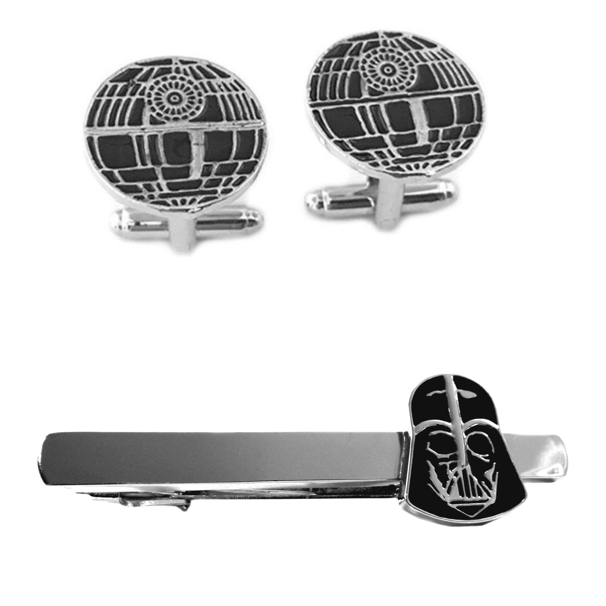 Outlander Death Star Cufflink & Darth Vader Tiebar - New 2018 Star Wars Movies - Set of 2 Wedding Logo w/Gift Box