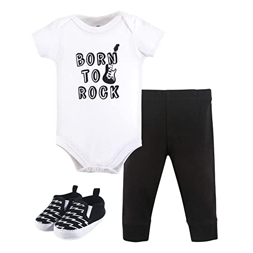 eb309afb1 Little Treasure Unisex Baby Bodysuit, Pant and Shoes, Born to Rock, 3-