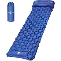 KEPLUG Inflatable Sleeping Pad for Camping, Ultralight Waterproof Sleeping Mat w/Pillow, Foot Pump Quick Inflation…