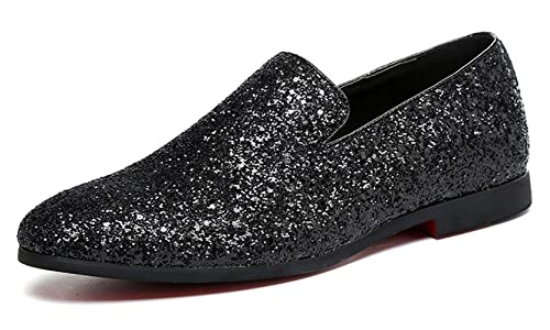 a1e7ce5bb517 Men Loafer Metallic Textured Slip-on Glitter Fashion Slipper Moccasins  Casual Dress Shoes Santimon Black