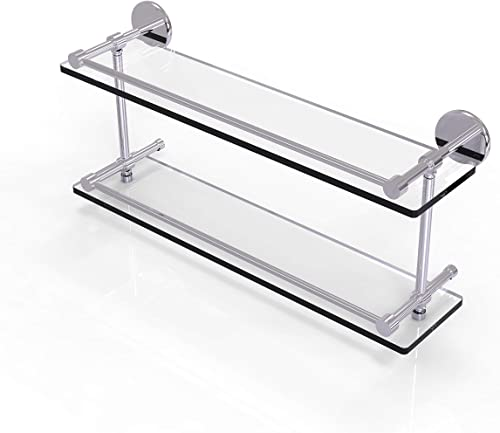Allied Brass P1000-2 22-GAL-PC 22 Inch Tempered Double Gallery Rail Glass Shelf, Polished Chrome