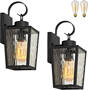 "MOTINI Outdoor Wall Lantern 2 Pack, 1-Light Exterior Wall Sconce Light Fixture in Black with Water Ripple Glass for Porch, Entryway, Doorway, 13.5"" Height, Bulb Include"