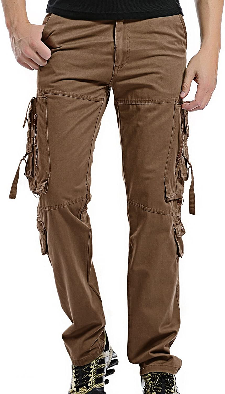 Black Lightweight Cotton Wide Leg Cargo Pants Combat Trousers Long Leg