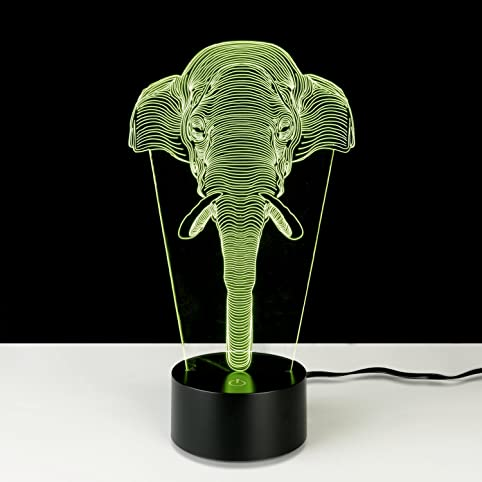 3D Illusion Lamp StarVast Adjustable 7 Colors Elephant Acrylic 3D Light  Creative Touch Switch Stereo Visual