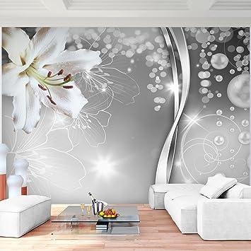 Fototapete Blumen Lilien Schwarz Weiß 396 x 280 cm Vlies Wand Tapete ...