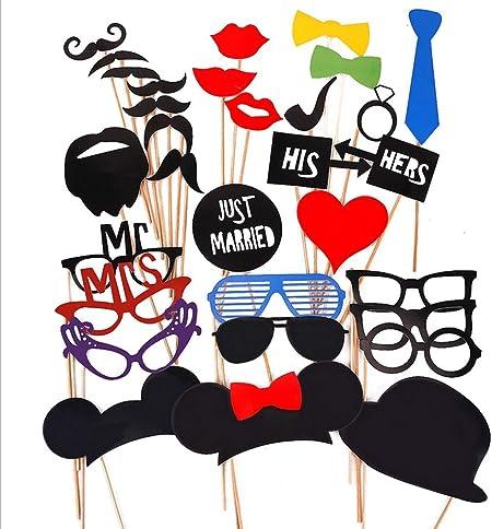 daorier 58//× accessori Masquerade Photobooth accessori di foto Photo Booth Props Accessori per matrimonio parte decorazione cappello barba labbra cravatta Occhiali Tubo