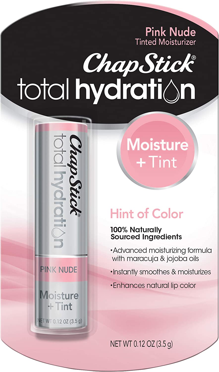 Pink Nude: ChapStick Total Hydration (Pink Nude Tint, 1 Blister Pack of 1 Stick) Tinted Moisturizer, 100% Natural ...