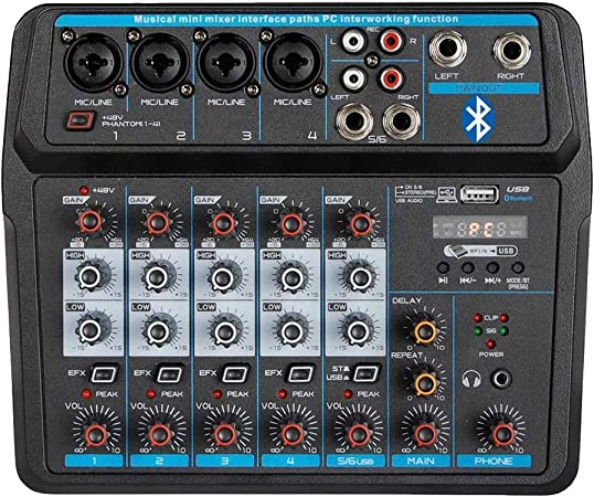 Professional Wireless Audio Mixer Sound Board 6 Channel Digital Bluetooth Usb Computer Compatible Input Dj Controller Sound Mixer 48v Phantom Power Microphone In Amazon Ca Musical Instruments Stage Studio