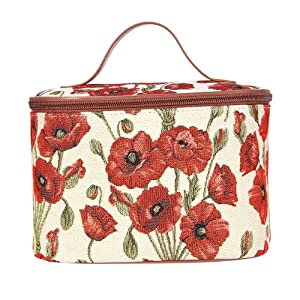 Signare Tapestry Toiletry Bag Makeup Organizer bag for Women with Poppy Flower Design (TOIL-POP)