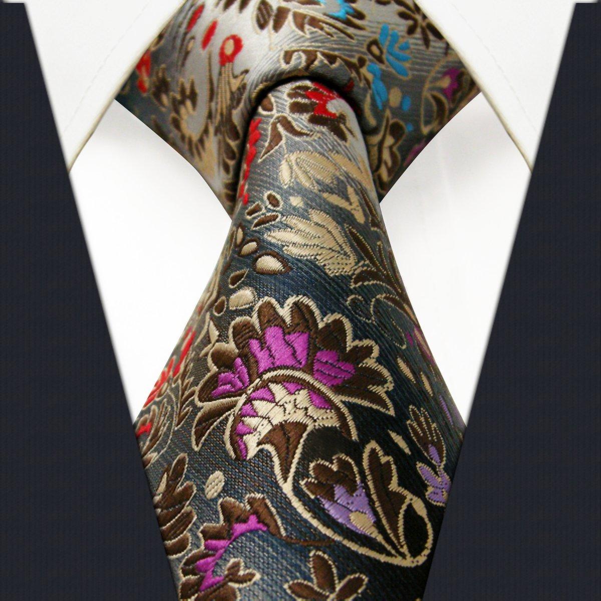 Shlax/&Wing Cl/ásico Hombre Seda Corbatas Para Plateado Multicolor Floral Extra largo