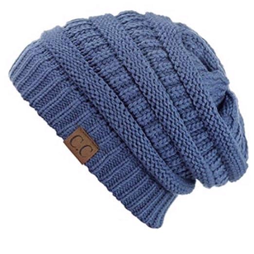 2377f06a74e Unisex Plain CC Beanie Cap Slouch Bubble Knit Winter Ski Baggy Oversize Hat  (Ash Blue