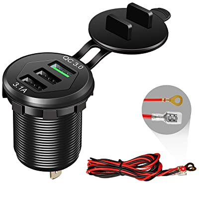Quick Charge 3.0 Car Charger, 12V/24V 35W QC3.0/2.0 USB Charger Socket, 3 USB Charger Socket Power Outlet Fast Charge with Wire Fuse Aluminum Car Boat Marine ATV Bus Truck Golf Cart and More(Black: Electronics