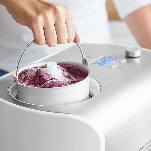 Máquina de Hacer Helados con Compresor de 1,2 litros Elli, Recetas incluidas, Heladera de acero para yogur, Sorbete y Helado, 135 W, display LCD, ...