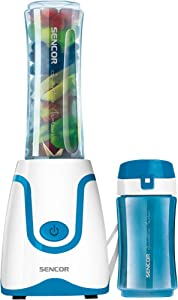 Sencor SBL2202BL 300W Smoothie Blender with 2 Impact Resistant BPA Free Bottles, Blue
