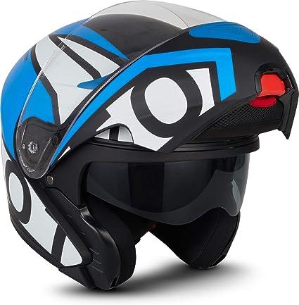 Moto Helmets F19 Runner Blue Motorrad Helm Klapp Helm Modular Helm Flip Up Integral Helm Motorrad Helm Roller Helm Sport Ece 22 05 Sonnenvisier Schnellverschluss Tasche M 57 58cm Auto