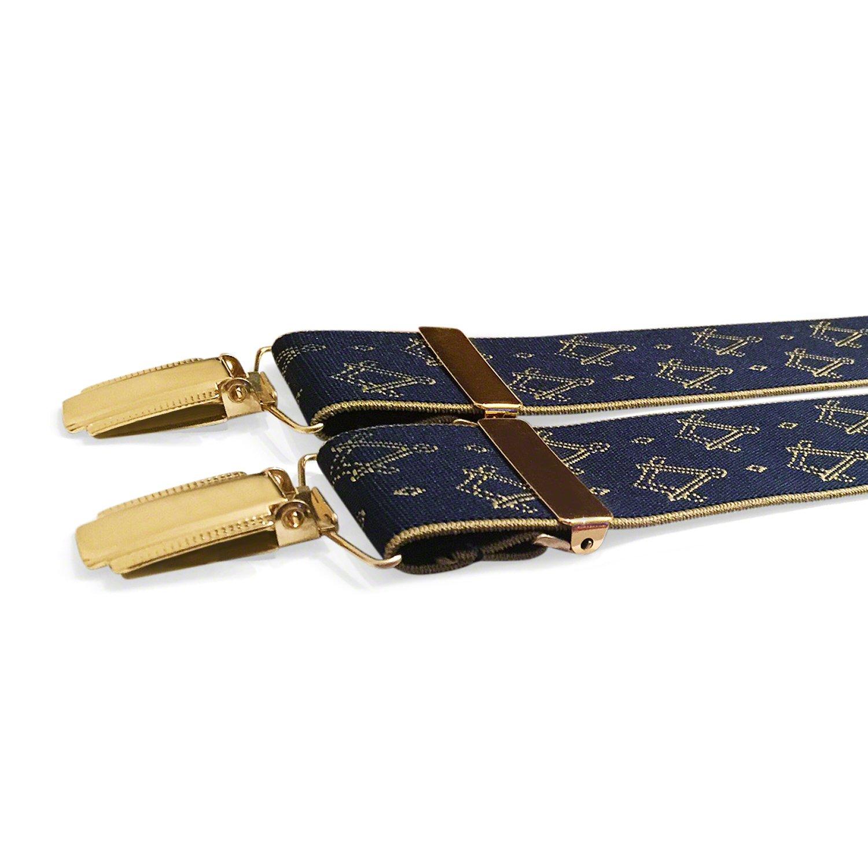 Masonic Bretelles de francs-maçons avec équerre et compas maçonniques Gold Logo