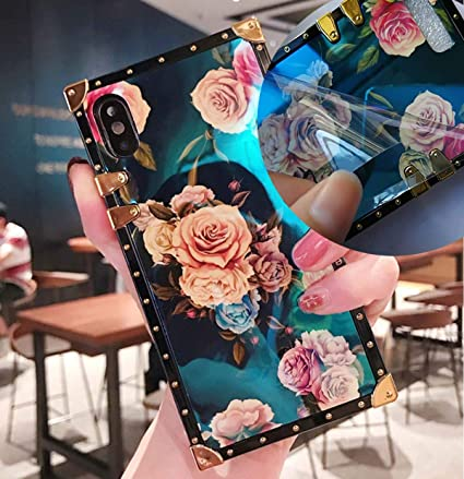 KAPADSON for iPhone 7 Plus/ 8 Plus Retro Blue Ray Rose Flower Glitter Skin Design TPU+ PU Leather Plating Square Corner Strong Back Case with Holder - ...