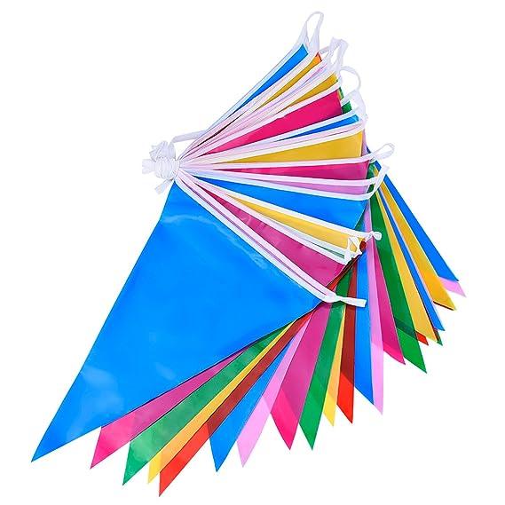 Bandera Banderines de Plástico Multicolor Doble Cara Decoración de Fiesta Interior/ Exterior (36 Pies)