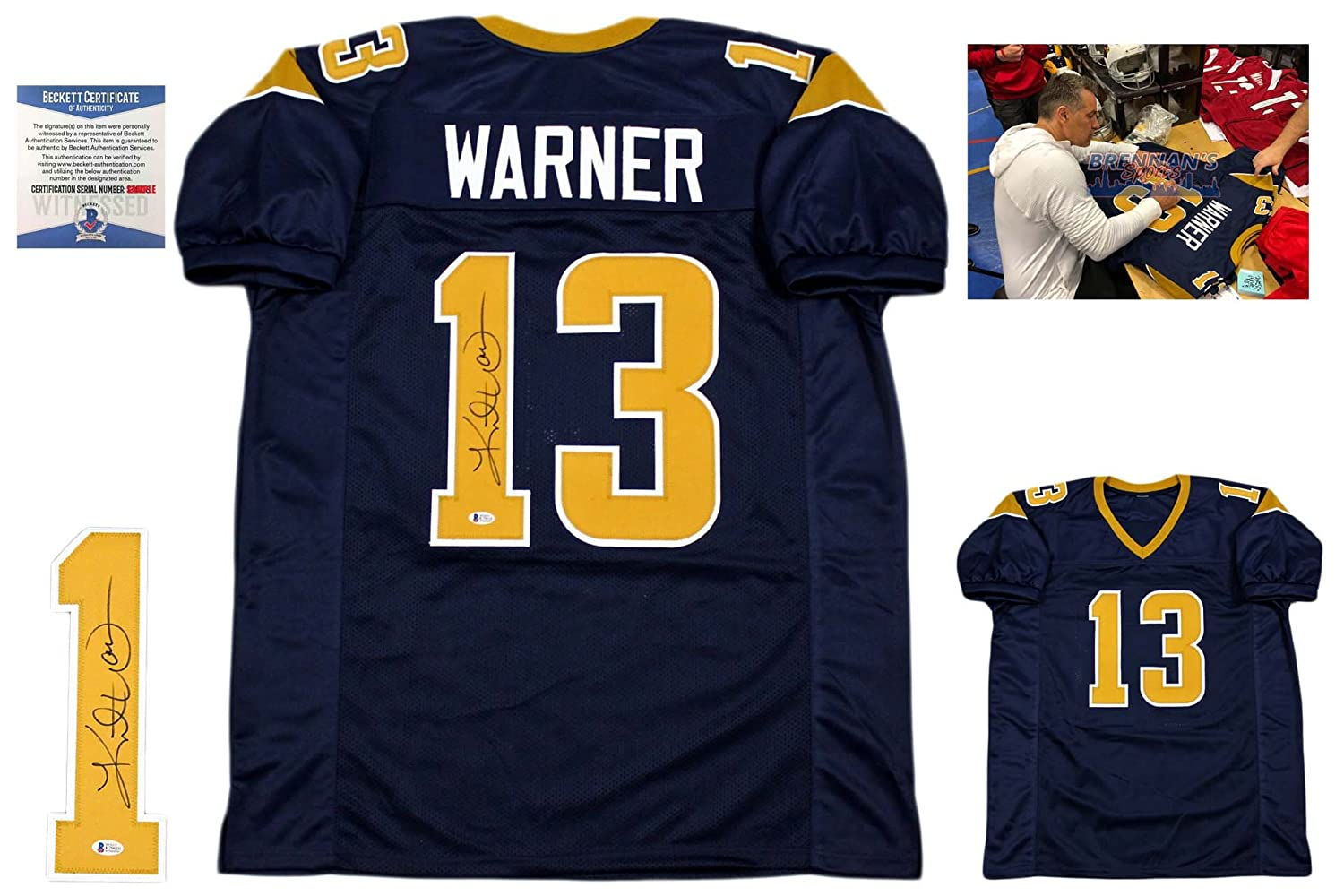 cc5db6a80 Kurt Warner Autographed Signed Jersey - Beckett Authentic - Navy at  Amazon s Sports Collectibles Store