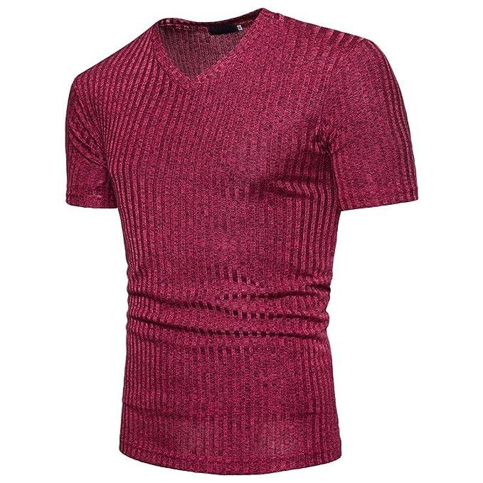 Camiseta Hombres, ❤ Manadlian Blusa de manga corta para hombres Camisa Fit Pollover Top casual con cuello en V (CN:L, Rojo): Amazon.es: Belleza