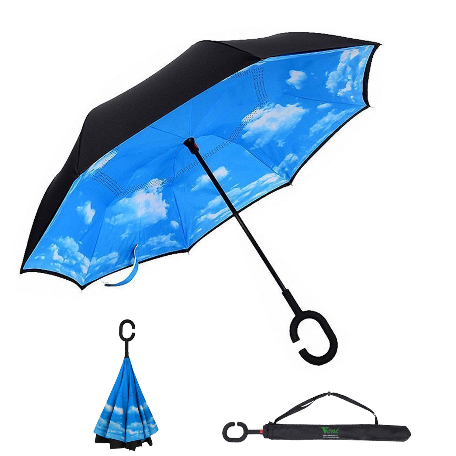 V one Heavy Duty Double Layer Inverted Umbrella C-shaped Handle Windproof  UV Protection Waterproof Stand Self with Carry Bag for Women Men Car  Outdoor
